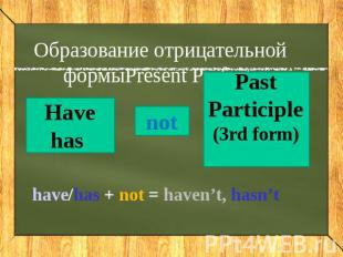 Образование отрицательной формыPresent Perfect have/has + not = haven't, hasn't