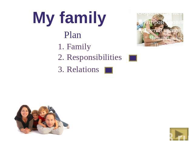 My family Plan 1. Family 2. Responsibilities 3. Relations