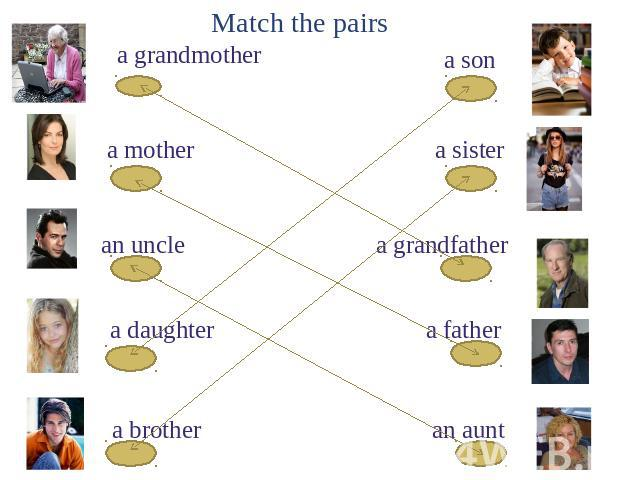 Match the pairs a grandmother a mother an uncle a daughter a brother a son a sister a grandfather a father an aunt