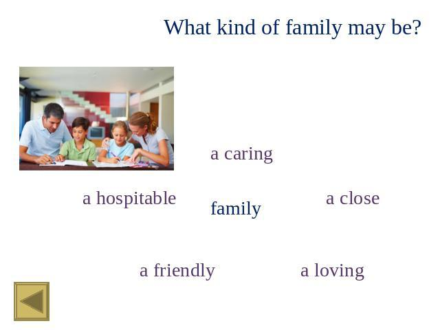 What kind of family may be? a caring a hospitable family a close a friendly a loving