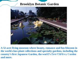 Brooklyn Botanic Garden A 52-acre living museum where beauty, romance and fun bl