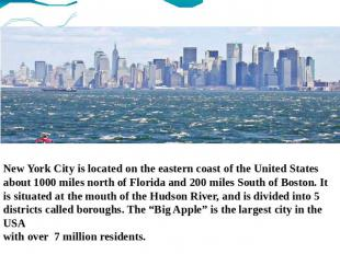 New York City is located on the eastern coast of the United States about 1000 mi