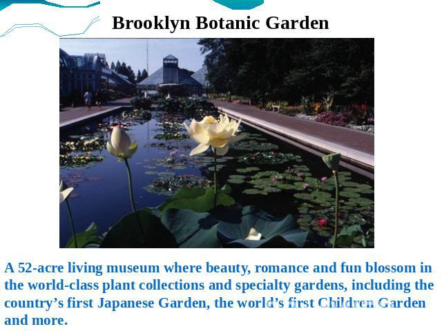 Brooklyn Botanic Garden A 52-acre living museum where beauty, romance and fun blossom in the world-class plant collections and specialty gardens, including the country's first Japanese Garden, the world's first Children Garden and more.