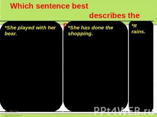 Which sentence best describes the picture? *She played with her bear. *She is pl
