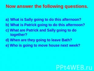 Now answer the following questions. What is Sally going to do this afternoon? Wh