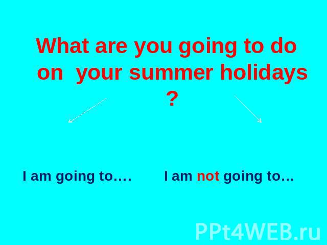 What are you going to do on your summer holidays ? I am going to…. I am not going to…