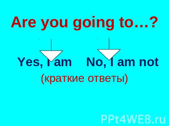 Are you going to…? Yes, I am No, I am not (краткие ответы)