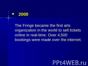 2000 The Fringe became the first arts organization in the world to sell tickets
