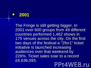 2001 The Fringe is still getting bigger. In 2001 over 600 groups from 49 differe