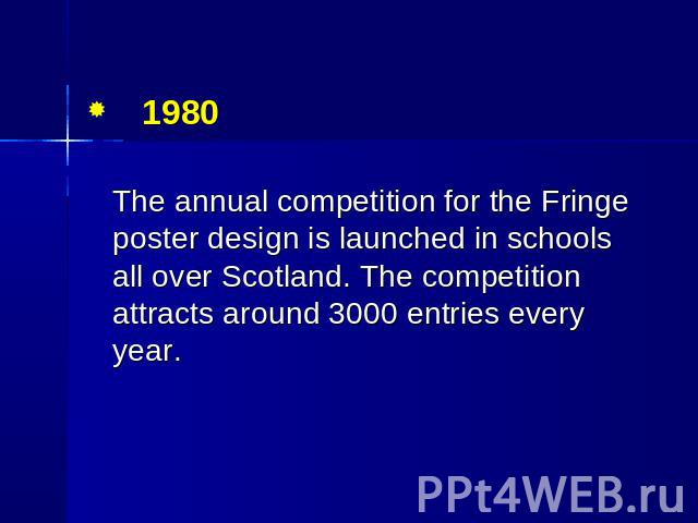 1980 The annual competition for the Fringe poster design is launched in schools all over Scotland. The competition attracts around 3000 entries every year.
