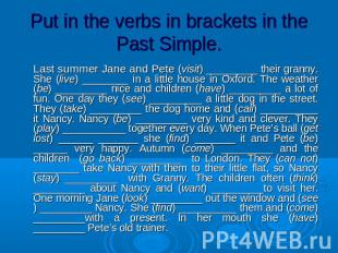 Put in the verbs in brackets in the Past Simple. Last summer Jane and Pete (visi