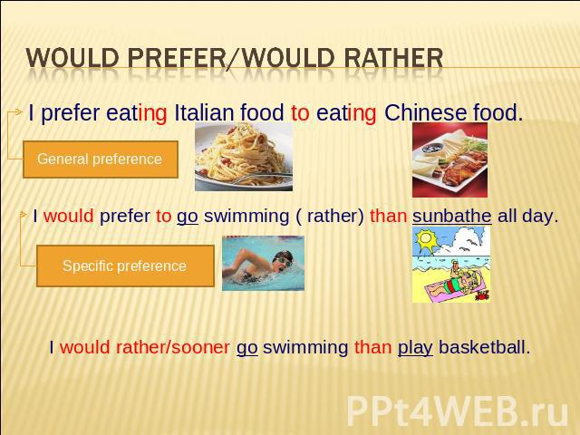 Would prefer/Would rather I prefer eating Italian food to eating Chinese food. General preference I would prefer to go swimming ( rather) than sunbathe all day. Specific preference I would rather/sooner go swimming than play basketball.