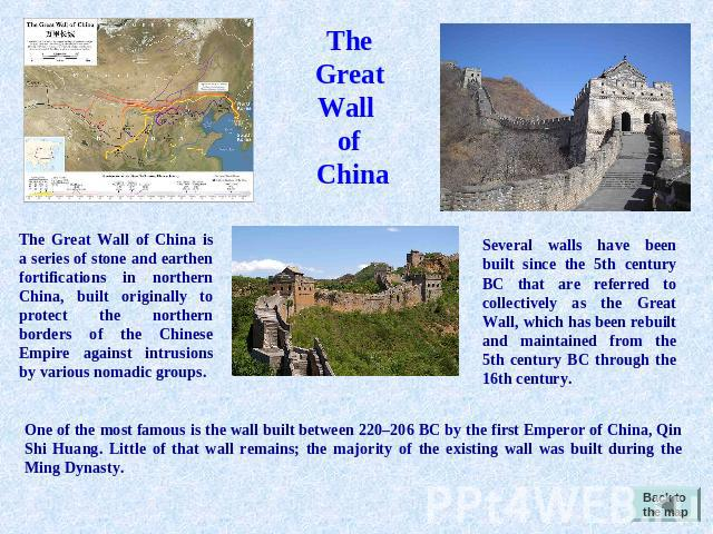 The Great Wall of China The Great Wall of China is a series of stone and earthen fortifications in northern China, built originally to protect the northern borders of the Chinese Empire against intrusions by various nomadic groups. Several walls hav…