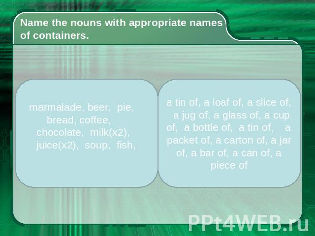 Name the nouns with appropriate names of containers. marmalade, beer, pie, bread, coffee, chocolate, milk(x2), juice(x2), soup, fish, a tin of, a loaf of, a slice of, a jug of, a glass of, a cup of, a bottle of, a tin of, a packet of, a carton of, a…
