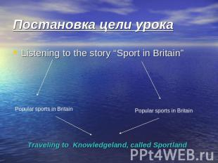 "Постановка цели урока Listening to the story ""Sport in Britain"" Popular sports i"