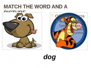 MATCH THE WORD AND A PICTURE dog