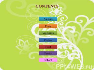 CONTENTS Animals Fruits Vegetables Clothes Food Family School