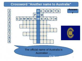 "Crossword ""Another name to Australia"" Answer The official name of Australia is A"