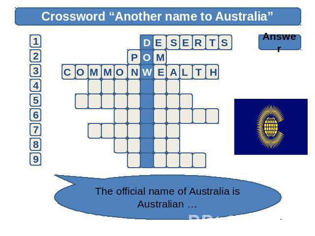 "Crossword ""Another name to Australia"" Answer The official name of Australia is Australian …"