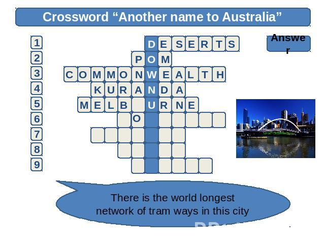 "Crossword ""Another name to Australia"" Answer There is the world longest network of tram ways in this city"