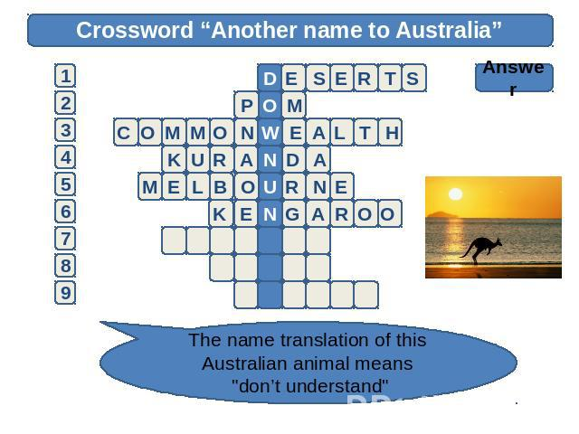 "Crossword ""Another name to Australia"" Answer The name translation of this Australian animal means"