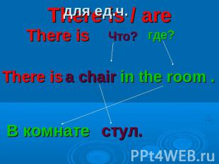 There is / are для ед.ч. There is Что? где? There is a chair in the room . В ком