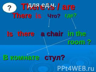для ед.ч. There is / areThere is Что? где? Is there a chair in the room ? В комн