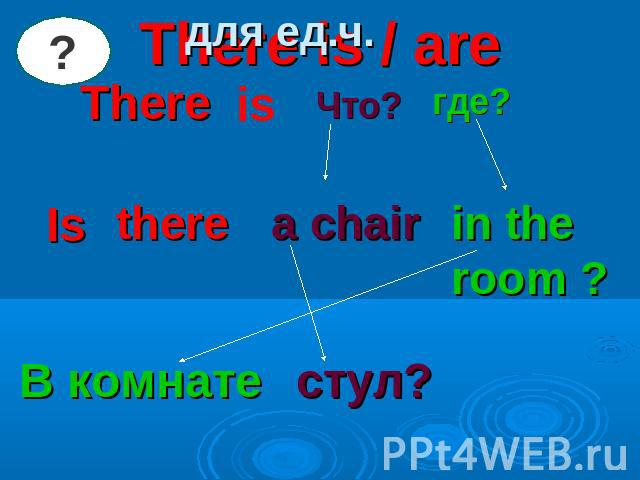 для ед.ч. There is / areThere is Что? где? Is there a chair in the room ? В комнате стул?