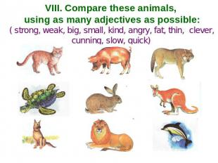 VIII. Compare these animals, using as many adjectives as possible: ( strong, wea