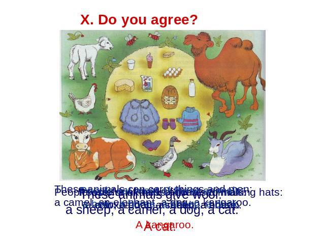 X. Do you agree? People eat meat of these animals: a bear, a horse, a sheep, a duck. These animals give wool: a sheep, a camel, a dog, a cat. These animals can carry things and men: a camel, an elephant, a dog, a kangaroo. People use fur of these an…