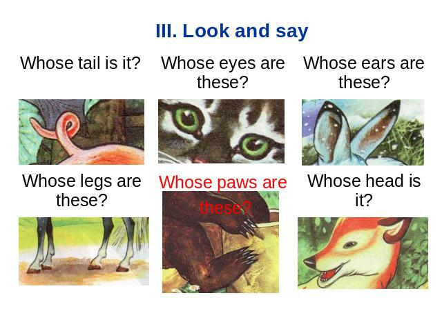 III. Look and say Whose tail is it? Whose eyes are these? Whose ears are these? Whose legs are these? Whose paws are theseWhose head is it?