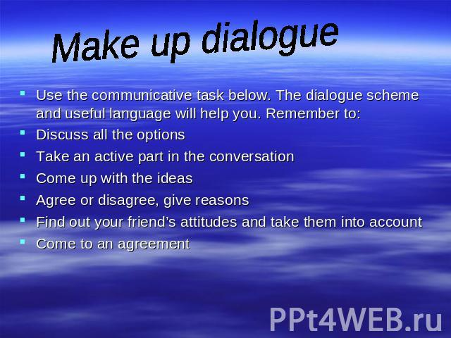 Make up dialogue Use the communicative task below. The dialogue scheme and useful language will help you. Remember to: Discuss all the options Take an active part in the conversation Come up with the ideas Agree or disagree, give reasons Find out yo…