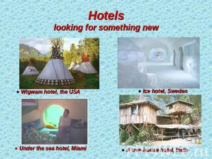 Hotelslooking for something new ● Wigwam hotel, the USA ● Under the sea hotel, M