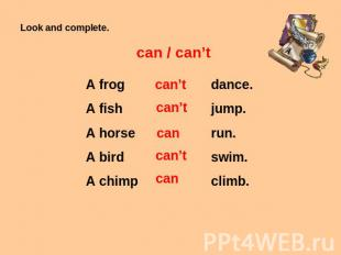 Look and complete. can / can't A frog A fish A horse A bird A chimp can't can't