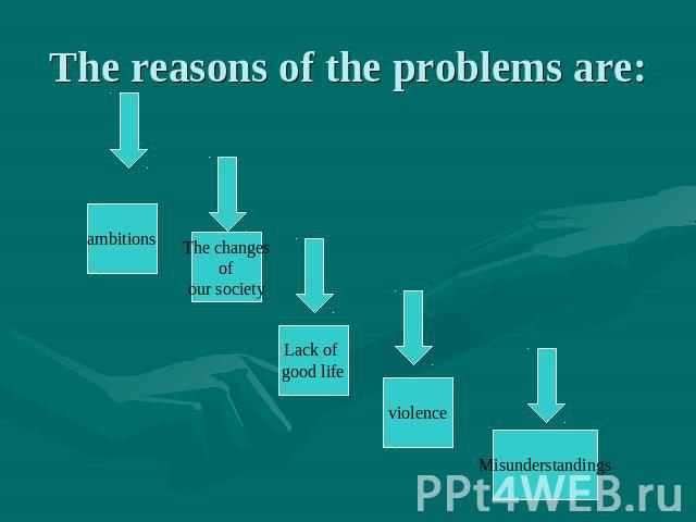 The reasons of the problems are: ambitions The changes of our society Lack of good life violence Misunderstandings