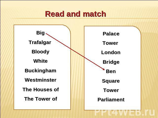 Read and match Big Trafalgar Bloody White Buckingham Westminster The Houses of The Tower of Palace Tower London Bridge Ben Square Tower Parliament
