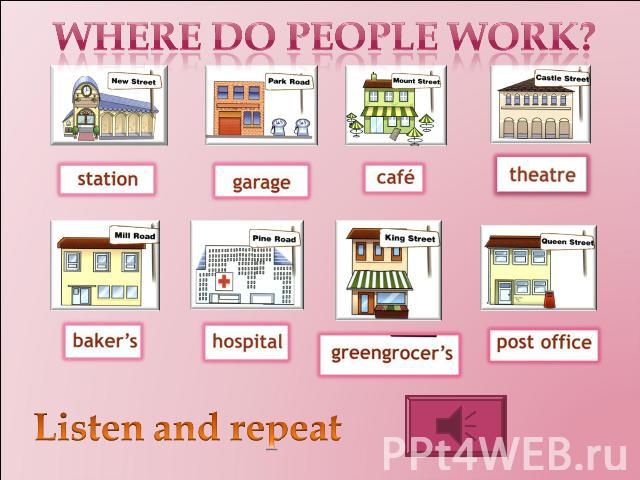 Where do people work? Listen and repeat