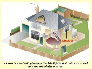 window a frame in a wall with glass in it that lets light and air into a room an