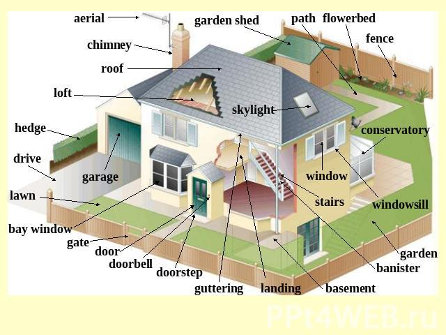 aerial chimney roof loft hedge drive lawn bay window gate door doorbell doorstep guttering landing basement banister garden windowsill stairs window skylight conservatory fence flowerbed path garden shed