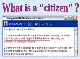 "What is a ""citizen"" ?"