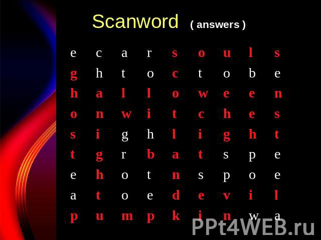 Scanword ( answers )