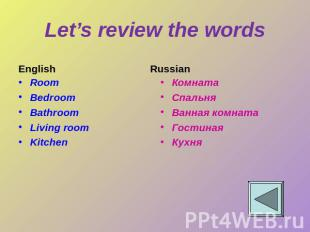 Let's review the words English Room Bedroom Bathroom Living room Kitchen Russian