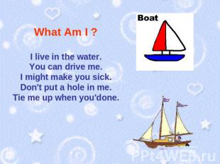 What Am I ? I live in the water.You can drive me.I might make you sick.Don't put