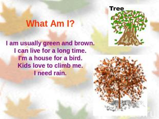 What Am I? I am usually green and brown.I can live for a long time.I'm a house f