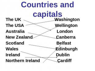 Countries and capitals The UK Washington The USA Wellington Australia London New