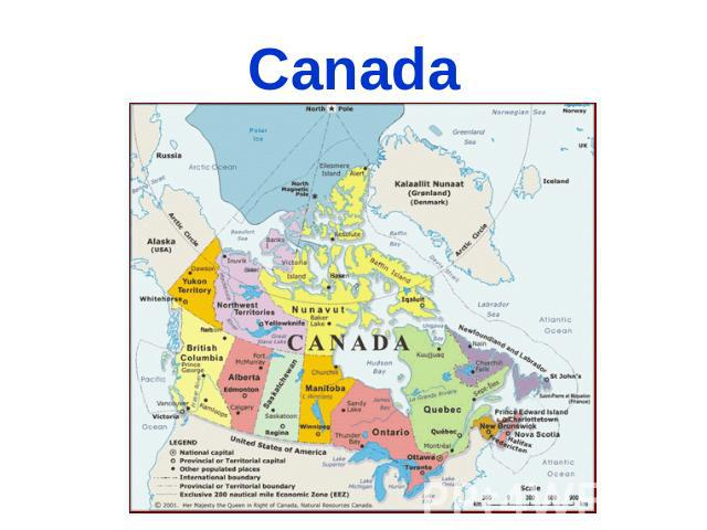 Canada Canada is a great country. The national emblem of Canada is the maple leaf. Eskimos and Indians were the first to settle in Canada, they came from Asia.
