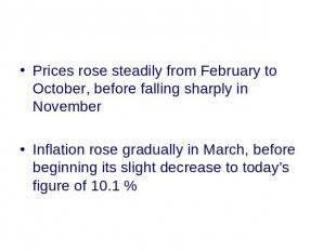 Prices rose steadily from February to October, before falling sharply in Novembe