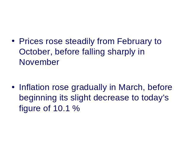 Prices rose steadily from February to October, before falling sharply in November Inflation rose gradually in March, before beginning its slight decrease to today's figure of 10.1 %