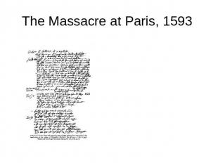 The Massacre at Paris, 1593