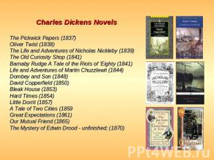 Charles Dickens Novels The Pickwick Papers (1837)Oliver Twist (1838)The Life and